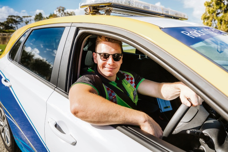 The City of Rockingham's SmartWatch service patrols the streets 365 days a year. SmartWatch officer Jake, pictured, conducts a patrol in Rockingham.