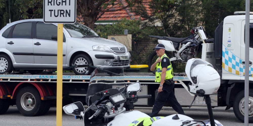 Police at the scene of the crash. Picture: Bruce Hunt d485007