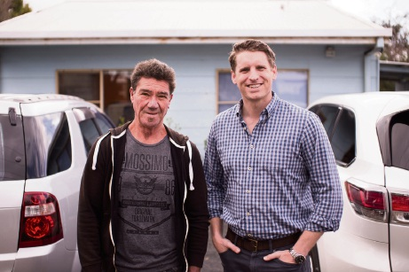Andrew Hastie with Lake Preston General Store owner Clint Vagg.