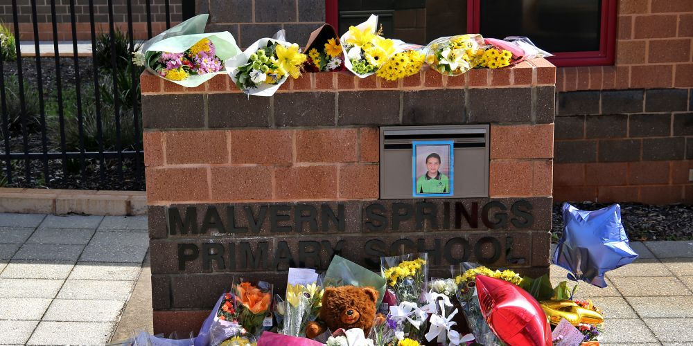 Malvern Springs Primary School, where Rua Petersen attended, with tributes left by family and friends.