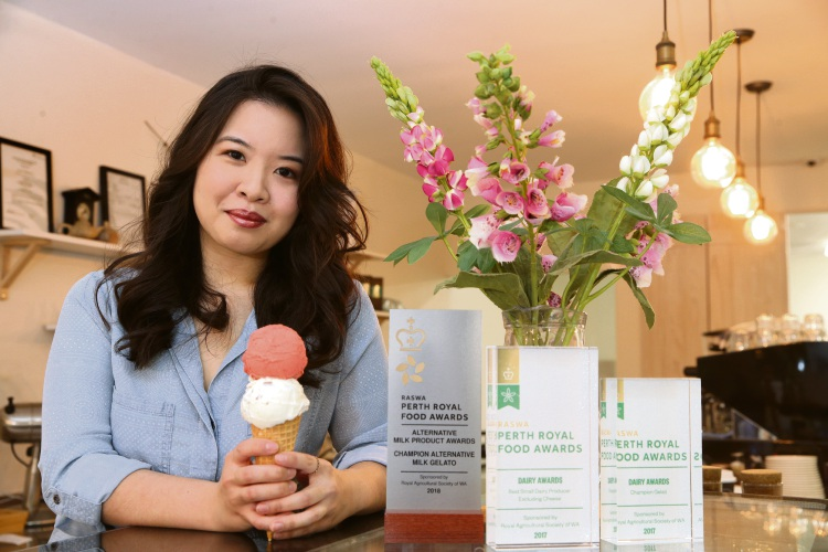 Cheryl Lim, owner of The Milk Barrel gelato store in Hillarys.  Picture: Martin Kennealey.