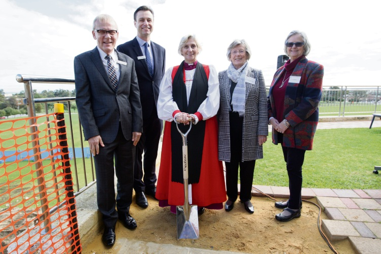 The Reverend Peter Laurence OAM (CEO the Anglican Schools Commision), Richard Alchin (Acting Principal), Archbishop Kay Goldsworthy AO, Barbara Godwin OAM (Anglican Schools Commision) and Liz Moyes, daughter of Peter Moyes. Photo: Bruce Hunt