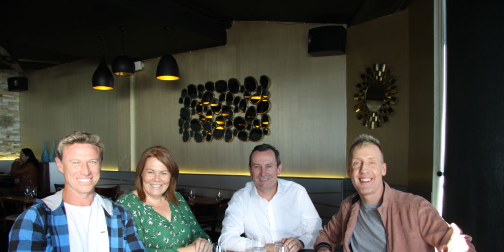 Premier Mark McGowan (second from right) with radio trio (from left) Shaun, Nat and Nathan at Rockingham's Latitude 32 restaurant.