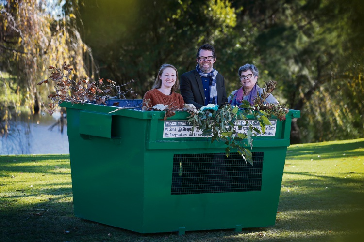 L-R Cr Lorna Clarke, Mayor Dan Bull and Cr Stephanie Gray, From August, the City will be offering a dedicated green waste bulk bin and expanding its fridge collection service to include all white goods and mattresses. Picture: Andrew Ritchie