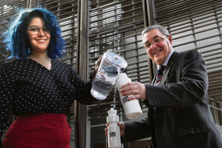 ECU student Ana Victoria Neves and Vice Chancellor Steve Chapman are encouraging people to stop using plastic water bottles on campus. Picture: Bruce Hunt