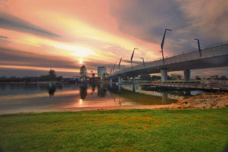 New Bridge at Dawn by Shelby Hine.