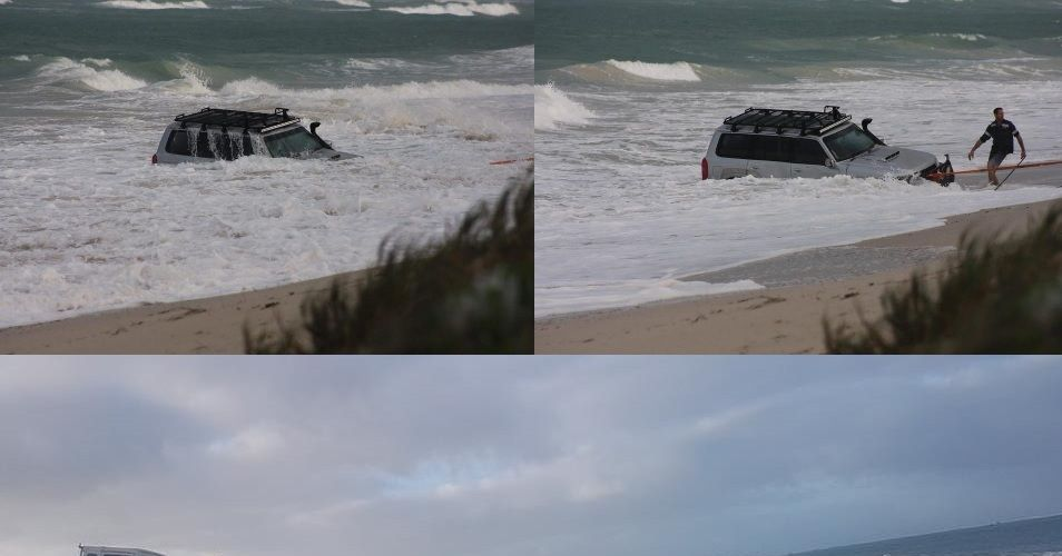 Photos have surfaced of a waterlogged 4WD bogged in the ocean off Lancelin. Picture: https://www.kymillman.com/