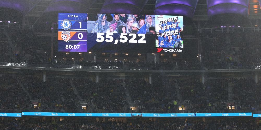 The crowd attendance figure is displayed during the international friendly between Chelsea FC and Perth Glory at Optus Stadium on July 23, 2018 in Perth, Australia.  (Photo by Paul Kane/Getty Images)