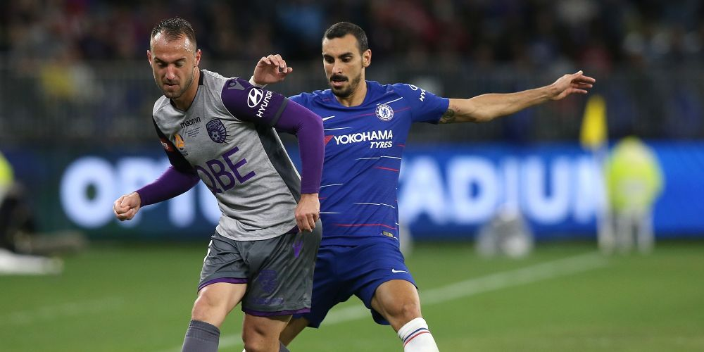 Ivan Franjic of the Glory controls the ball against Davide Zappacosta of Chelsea during the international friendly between Chelsea FC and Perth Glory at Optus Stadium on July 23, 2018 in Perth, Australia.  (Photo by Paul Kane/Getty Images)