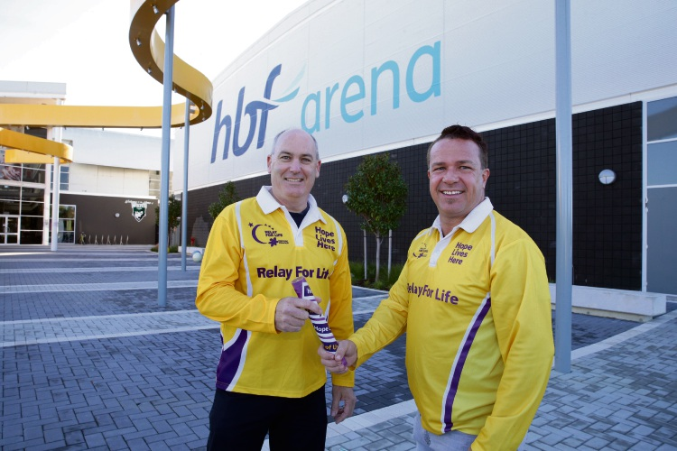 New Joondalup-Wanneroo Relay For Life chair Scott Norman with outgoing chair Troy Pickard.