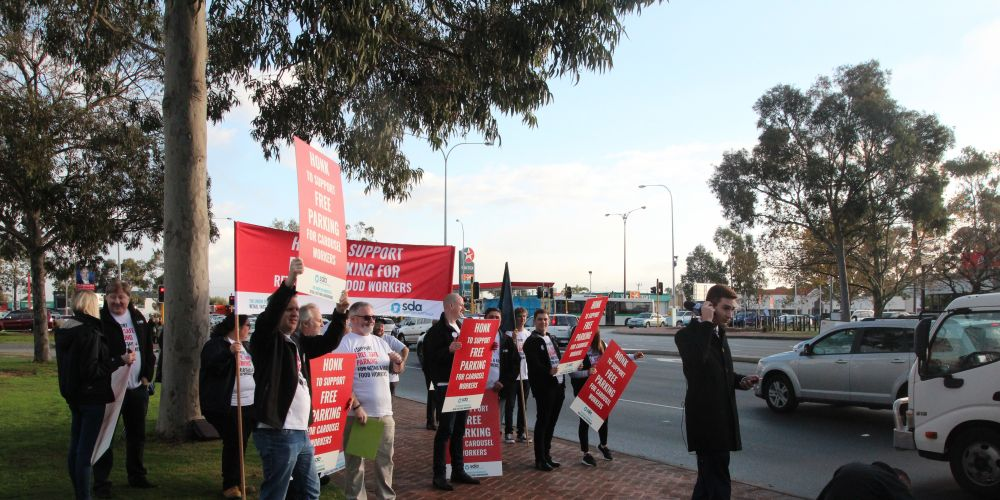 The protest outside Westfield Carousel.