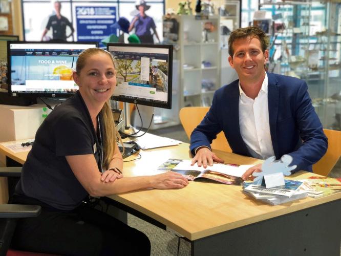Mayor Rhys Williams with Sharryn Platt at Mandurah Visitors Centre.