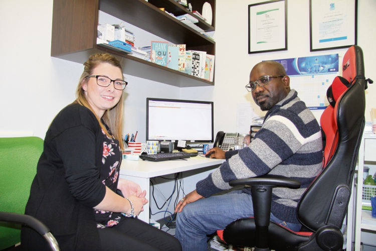 Receptionist Bianca Pickering with Dr Femi.