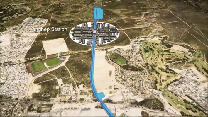 A Metronet fly-through video shows the location of the Yanchep station, north of existing development.