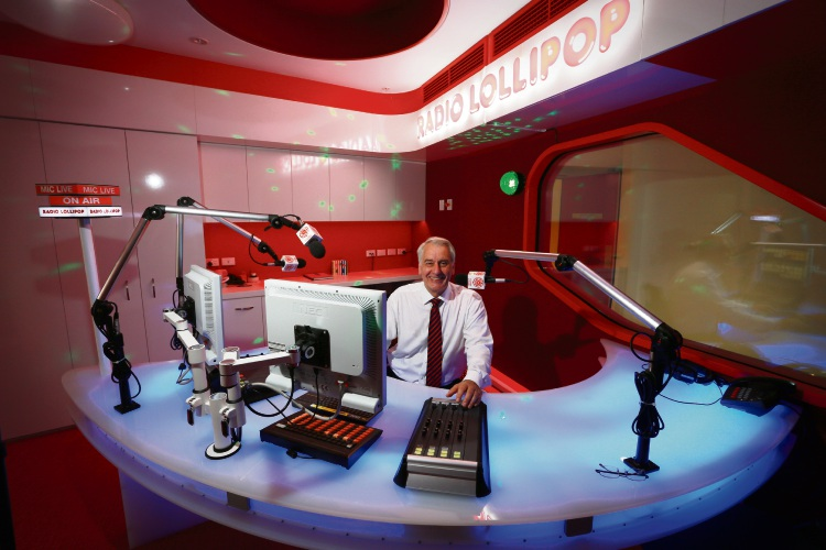The founder of Radio Lollipop, Hedley Finn in the new Radio Lollipop studio at the new Perth Children's Hospital. Photo: Andrew Ritchie