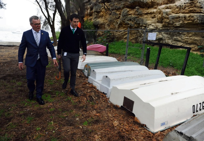 Mayor Brett Pollock and technical services manager Matthew MacPherson inspect dinghies at The Coombe in Mosman Park. Picture: Jon Bassett.
