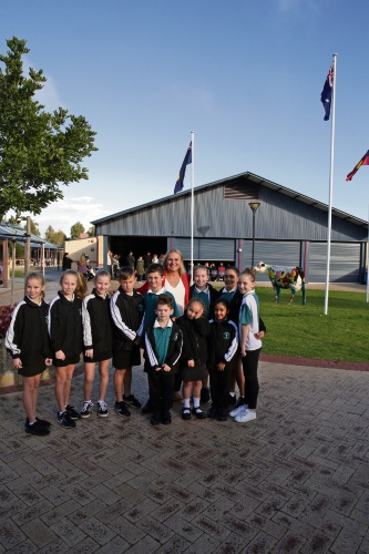 Wanneroo MLA Sabine Winton with students at Tapping Primary School. Photo: Martin Kennealey