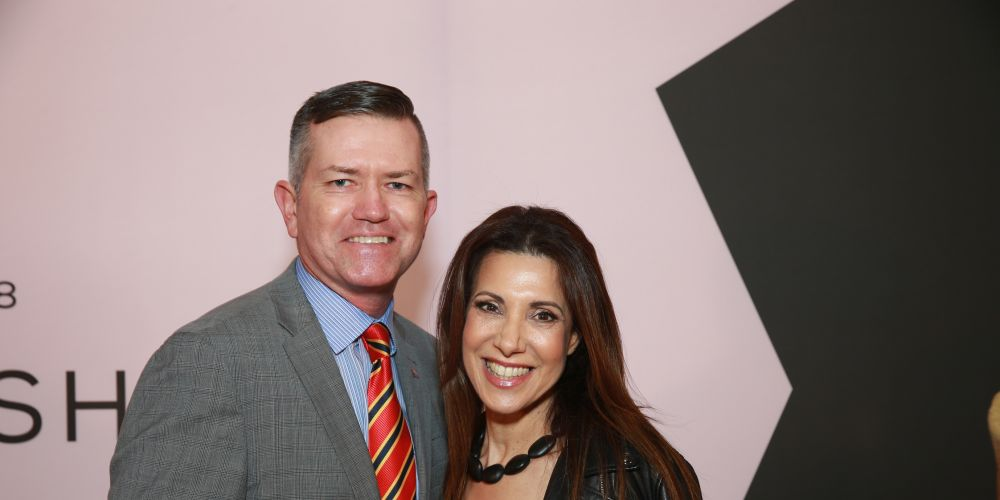 Paul Trainor and PFF Mariella Harvey-Hanrahan at the Telstra Perth Fashion Festival launch. Picture: Andrew Ritchie.