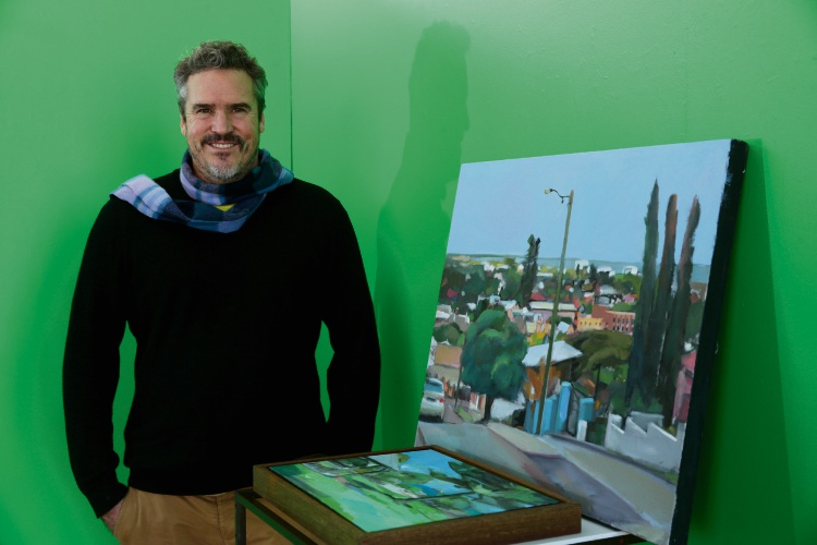 Fremantle artist Michael Knight has been heavily inspired by landmarks in his latest solo exhibition. Picture: Martin Kennealey.