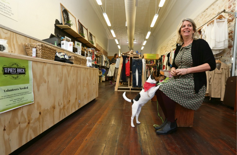 St Pat's corporate services manager Lyn Levy with store mascot Woody.  Picture: Martin Kennealey.