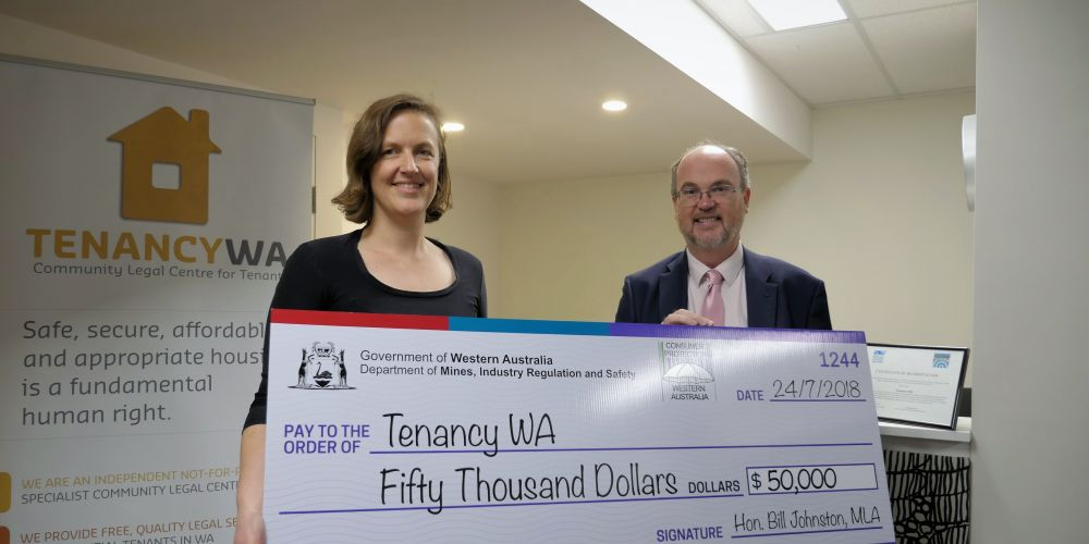 Tenancy WA solicitor Kate Davis with Commerce and Industrial Relations Minister Bill Johnston.
