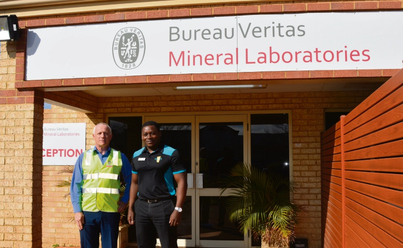 Tom Lowther, from Bureau Veritas, with atWork Australia's Kalusha Chulu. Picture: Ben Smith