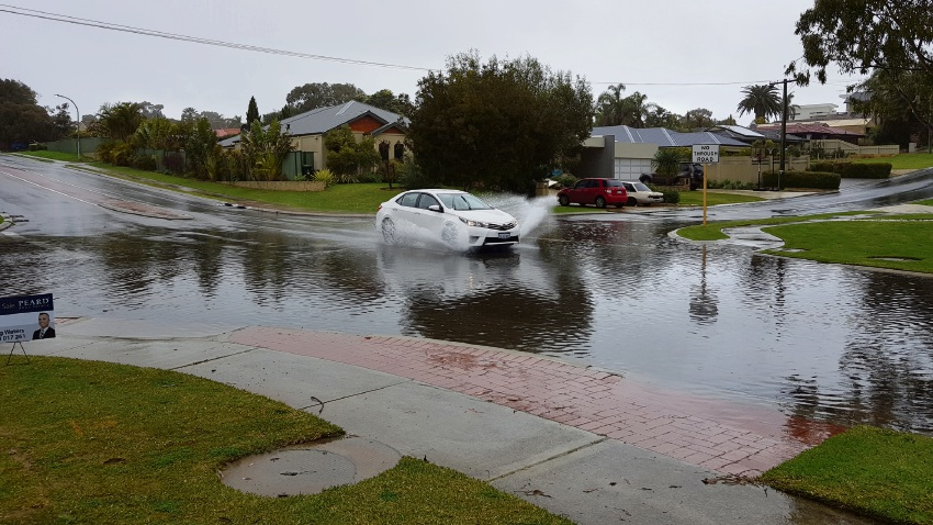 Flooding at the intersection of Marine Terrace and Parnell Avenue in Sorrento on July 21.