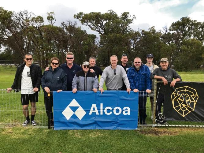 Alcoa employees volunteering at Mandurah City Football Club include Kaiden Dixon, Tom Duxbury, Colin Chandler, Jamie Martley, Greg Mullins, Dan Mcevatt, Ray Smith, Bailey Mullins and Mark Russell.