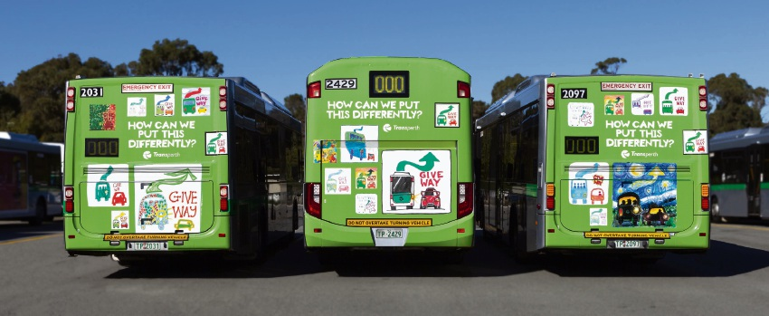 Perth: Transperth buses get makeover to remind road users to give way