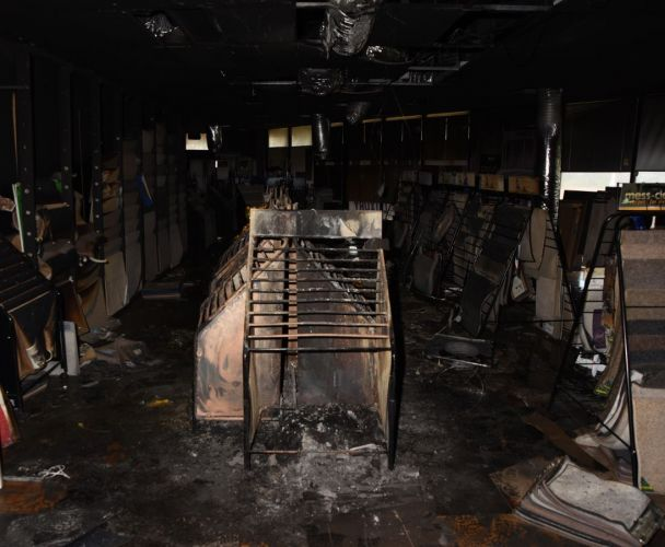 The gutted flooring store. Photo: WA Police