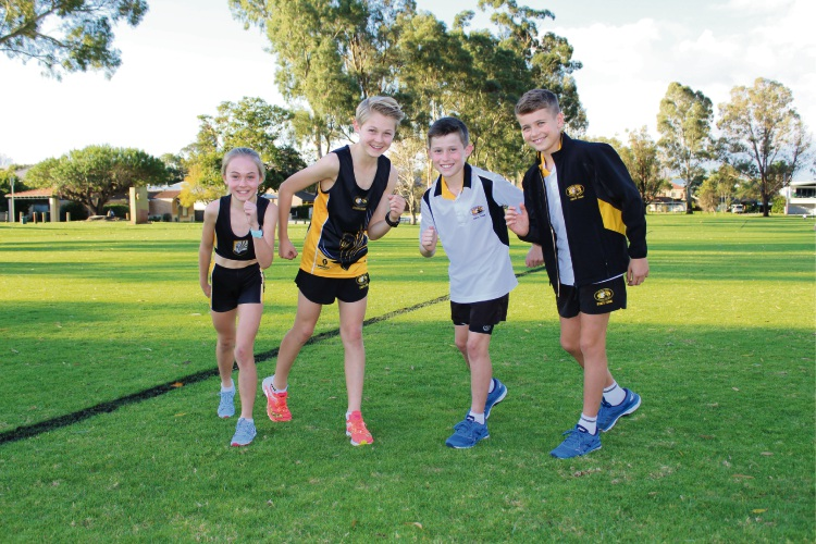 Jessica Millard, 10, Tom Millard, 13, Josh Kelly, 10, and Ky Hehir, 12, are excited to compete in the Australian Cross Country Championships. Picture: Aaron Corlett.