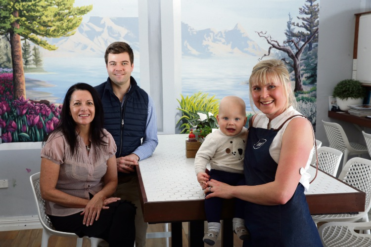 Diabetes Research WA's Sherl Westlund with Drift Kitchen owners Ryan and Anna Croll and their son Noah. Picture: Martin Kennealey d485159