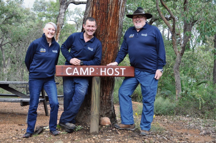 Lake Leschenaultia team leader Neil Fletcher (Centre) with camp hosts Dave and Sheelagh.
