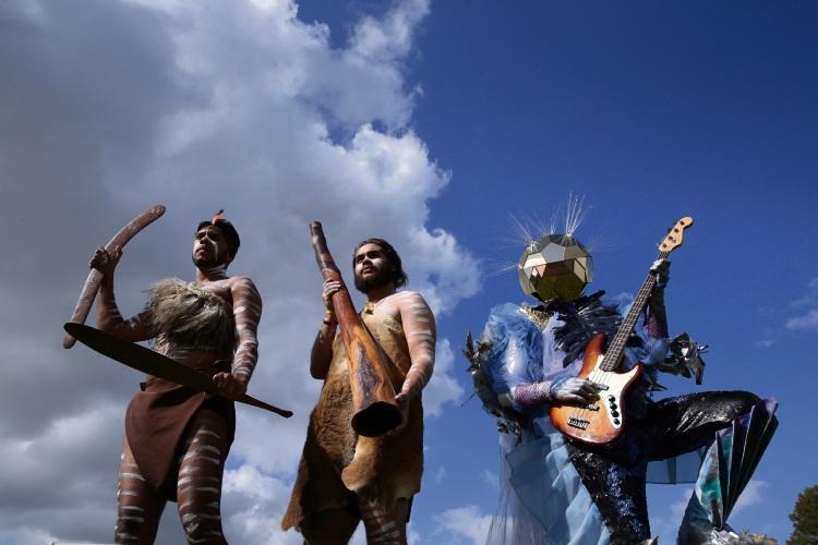 Derek Nannup (Nollamara) and Michael Spratt (Thornlie) -Moorditj Mob dancers with Alien (Genrefonix actor Paul Rowe, of White Gum Valley). Photo: Martin Kennealey