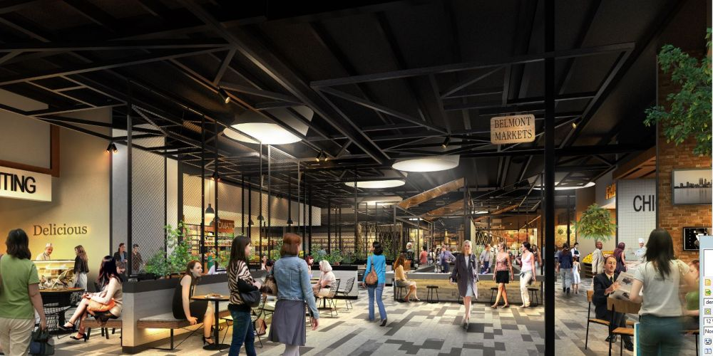 An artist's impression of the Belmont Forum Fresh Food Precinct