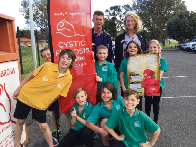 Cystic Fibrosis WA business manager Karen De Lore with students Kaleb Neale, Riley Price, Tjay Kreusch, Jack Whitall, Sienna Wilson, Lily James, Kody Mitchell, Nash Doherty and teacher Adrian Perry.