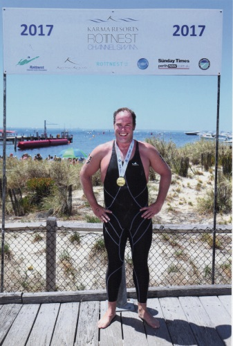 Jon McArdell, of Scarborough, after completing last year's Rottnest Channel Swim.