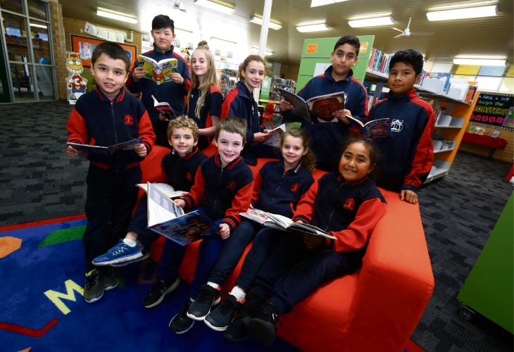 Students at the Eddystone Primary School who will be receiving a lieracy boost thanks to Dymocks Books during 'Books for Kids' Week from August 4th ot 12th. Photo: Matt Jelonek