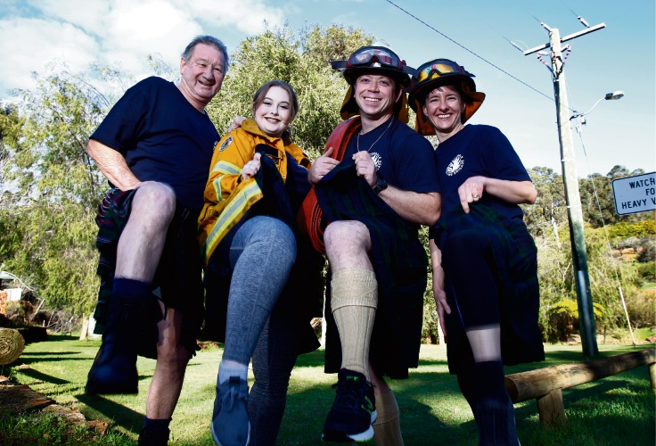 Getting ready for this year's Perth Kilt Run are Bedfordale volunteer firefighters (L-R) Geoff Pettersen, Marnie McKean, Ryan Bazzica and Amelia Barrett.