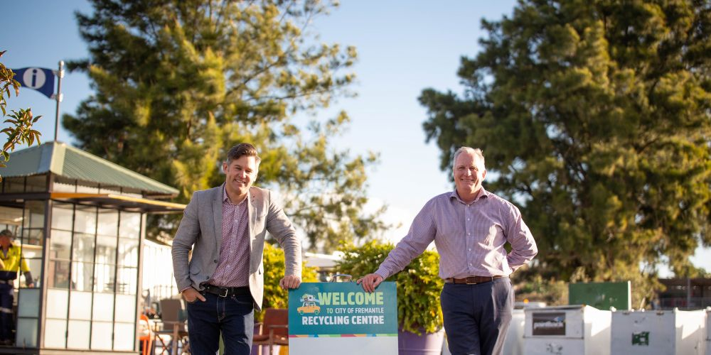 Fremantle Mayor Brad Pettitt and East Fremantle Mayor Jim O'Neill at the Fremantle Recycling Centre.