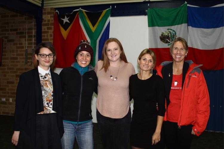 Team WA Homeward Bound 2018 presenters Rachel Zombor, Veronique Florec, Anais Pages and Jessica Brainard with Kingsley MLA Jessica Stojkovski (centre).