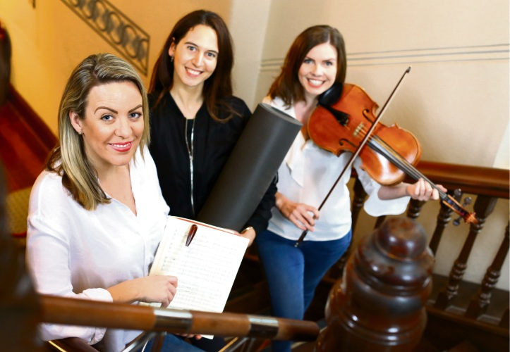Artistic director and conductor Jessica Gethin (Hillarys), yoga instructor Stephanie Johnson (Subiaco) and viola player Alix Hamilton (South Perth). Picture: Matt Jelonek, d485423