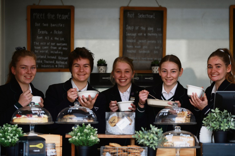 L-R Emma Barrett (y9), Sacha Winter (y12),Matilda Lamb (y9), Sophie Day (y9) and Charli Pope (y12) with their food in recyclable dishes. Photo: Andrew Ritchie