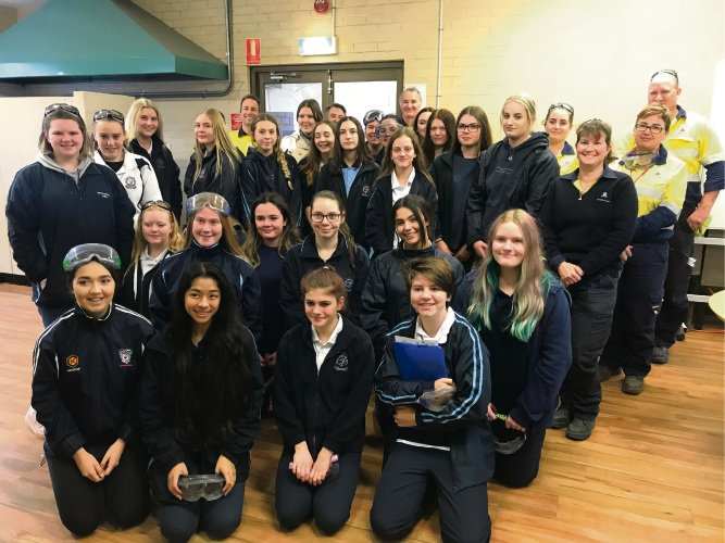 Pinjarra Senior High School students learn about Alcoa operations.