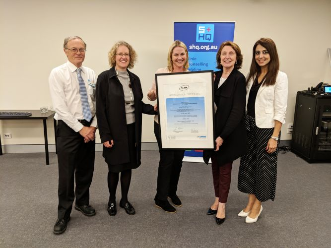 SHQ chief executive Julian Henderson, President Deborah Smith, Medical Director Dr Richelle Douglas with Australian Council on Healthcare Standards President Dr Christine Dennis and Raman Dhaliwal.