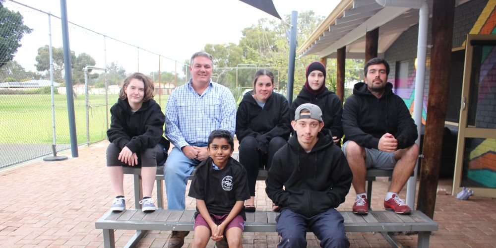 "-(top-left to right): Indiana Faith Murphy, Gosnells mayor Glenn Dewhurst, Elizabeth ""Liz"" Gibson, Aishah Stephens, Joshua Shane (bottom left to right): Amal George and Patrick Needham. Picture-Jessica Nico"