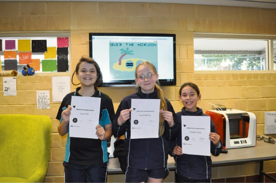 Year 6 students Leah Witts (left), Sarah Bartley and Kaylee Chin.