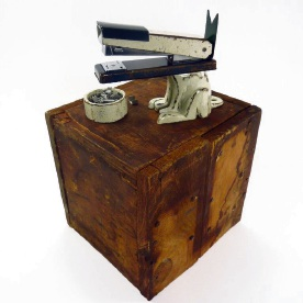 Artist Neil Elliot created <i>Staplier Dog Found</i> from objects and found wood.