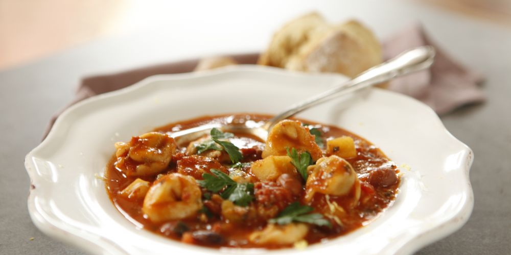 Minestrone soup with tortellini