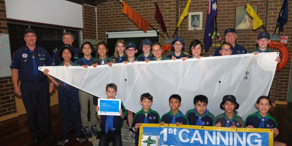 Canning Sea Scouts displaying one of their new sails.